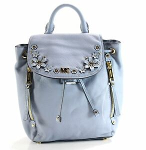 Michael Kors NEW Pale Blue Gold Evie Small Backpack Leather Handbag $368- #054
