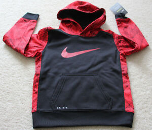 Nike Therma dry fit sweat shirt hoodie small kids boys red black size 4 NEW XS`