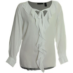 INC 1x 3x White Long Sleeve Ruffle Tie Front High-Low Blouse NWT FREE SHIP Plus