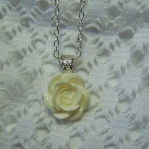 Winter White Rose Necklace Victorian Rose Necklace White Floral Pendant $14.99