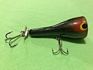 OLD WOOD FISHING LURE POPPER SURFACE BAIT VINTAGE TACKLE BASS PLUG BUD STEWART?