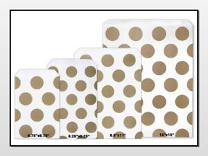 Gold Polka Dots Flat Paper Merchandise Bags Choose Size amp; Package Amount