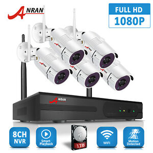ANRAN 8CH 1080P NVR Security Camera System Wireless 2.0MP CCTV Outdoor WIFI HDMI