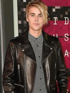 NEW MENS LEATHER JACKET JUSTIN BIEBER 2015 VMA RED CARPET BLACK MOTORCYCLE L 2X