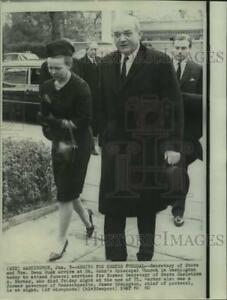 1967 Press Photo Secretary of State Dean Rusk Wife Arrive for Herter Funeral