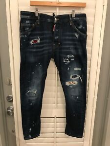 Made in Italy DSQUARED jeans leather patchwork size 48 Italian. US 32
