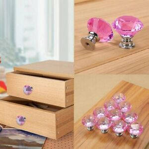10 Pcs Pink Diamond Crystal Glass Cabinet Drawer Door Handle Pull Handle Knobs