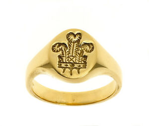Three Feathers Ring Heavy Solid Gold Men's Ring Handmade Jewellery Quarter B'ham
