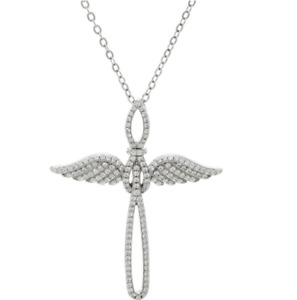 DIAMONIQUE 410CT STERLING SILVER ANGEL WING CROSS 18