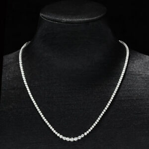 100% Natural Diamond 14K White Gold Elegant Custom Necklace N50