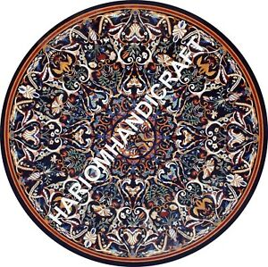 6' Black Round Marble Table Top Collectible Inlay Handmade Cafeteria Decor E748B