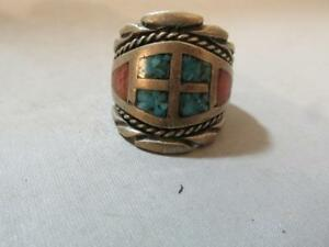 Vintage Sterling Silver Turquoise and Red Coral Men's Ring