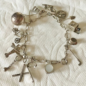 Vintage Sterling Rare Collectible  Movable Charm Bracelet 1930's 15 Charms