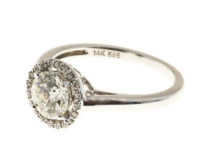 Engagement 1.00ct Halo Design Ideal Cut Diamond 14k White Gold Ring