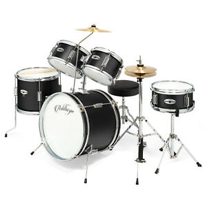 5 Piece Junior Drum Set with Brass Cymbals Children Kid Starter Kit $182.49