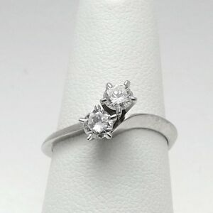 Vintage 14K White Gold .40ctw Diamond 2 Stone Bypass Ever Us Style Ring Sz 6