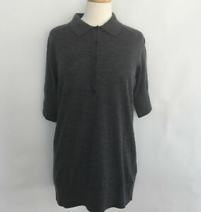 Under Armour Polo Sweater Womens Large Wool Knit Charcoal Short Sleeve Golf