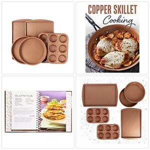 6 Pc Copper Nonstick Bakeware Set 2 Muffin 2 Cake 2 Cookie Pans and Recipe Book