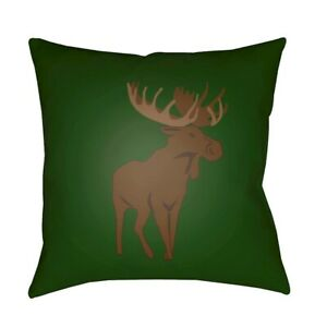 Moose by Surya Poly Fill Pillow, Green/Brown, 18' x 18' - MOO001-1818