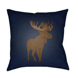 Moose by Surya Poly Fill Pillow, Blue/Brown, 18' x 18' - MOO005-1818