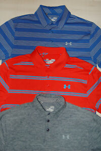Lot Of 3 TRHEE Mens Under Armour Heat Gear Golf Polo Shirts Size Medium Blue-Red