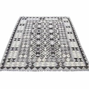 4#x27;1quot;x6#x27; Undyed Natural Wool Afghan Kilim Reversible Hand Woven Rug R44351 $196.00