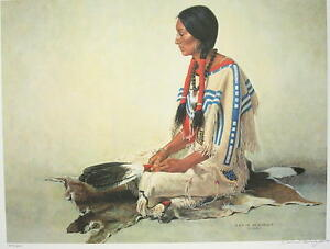 David Wright WAITING FOR HER WARRIOR Native American Art Print SN LE