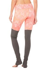 ALOYOGA Women's 'GODDESS' RIBBED PRINTED Guava Indio/Stormy Heather LEGGINGS- S