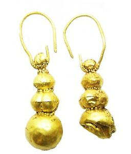 Nice 7th - 10th century A.D. Pair of Excavated Viking Slavic Gold Earrings