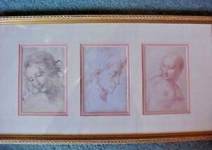 Framed Art Work Three Victorian Ladies Possibly Pencil Technique Double Matted
