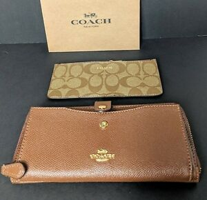 COACH Multifunction Wallet Signature Insert Coin Pocket Card -Saddle 2 F22997