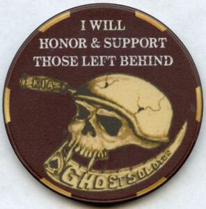 US Military Poker Chip Style Challenge Coin KIA Some Gave All Ghost Soldiers