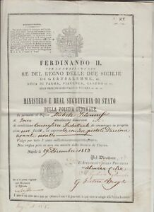 1853 Rifle Permit issued by the Ministry of State of Due Sicilie under the autho