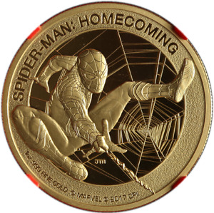 2017 Spiderman Homecoming Cook Islands $200 Gold 1oz NGC PF70 Stan Lee Autograph