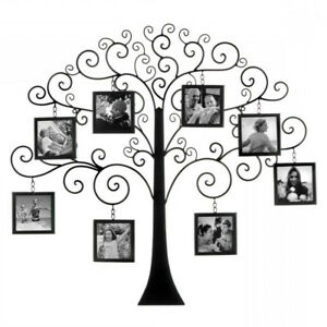 Metal Wall Sculpture Family Tree Photo Frames Scrolling Branches Farmhouse Decor $89.90