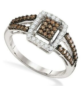 Sterling Silver Chocolate Brown & White Diamond Ring .51ct .925 Diamond Ring