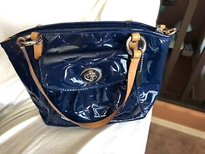 Coach 14729 Navy Embossed Patent Leather Small Leah Crossbody Handbag