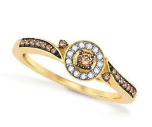 Chocolate Brown Diamond Ring 10K Yellow Gold Band Chocolate Solitaire .20ct