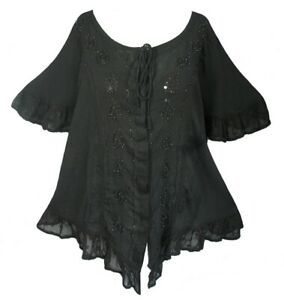 black cap sleeve blouse * sequinned embroidery * lace edged * XXL * Jordash