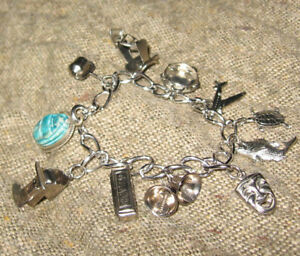 VTG STERLING SILVER bracelet and 11 silver charms - airplane fish drama 7
