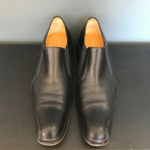 Mens Sebastiano Migliore Leather Dress Shoes Size 41 Black Italian Suit Designer