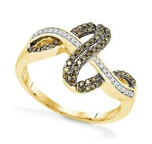 Chocolate Brown Diamond Ring 10K Yellow Gold White Diamond Twist Ring .25ct