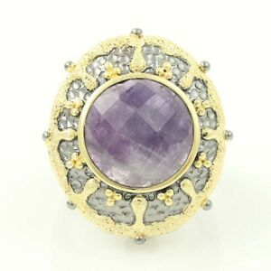 Amethyst Solitaire Cocktail Ring - Sterling Silver & Gold Plated