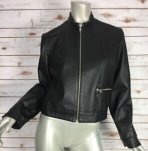 Renee Tyler Leather Jacket Womens Small Black Motorcycle Full Zip Cropped