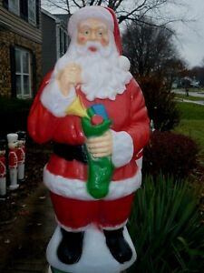 SANTA with GREEN SOCK OF TOYS  CHRISTMAS LIGHTED BLOW MOLD 40