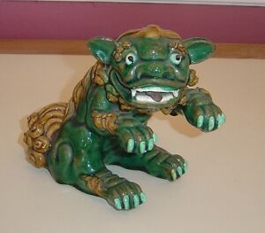 Vintage Chinese Green Ceramic Foo Fu Dog Lion Guardian Statue Figure Asian