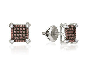 Chocolate Brown & White Diamond Earrings 10K White Gold Cluster Studs .25ct