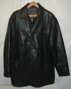 Marc New York Black Leather Jacket Men's Size Medium Zip Front Coat Insulated