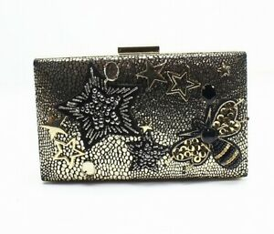 Designer Brand Gold Beaded Embelished Stars & Bee Minaudiere Clutch $149- #696