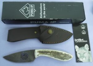 Puma IP Knife 818000 Damascus Logo Cutout Blade Stag Made 2014 Hunting Fixed